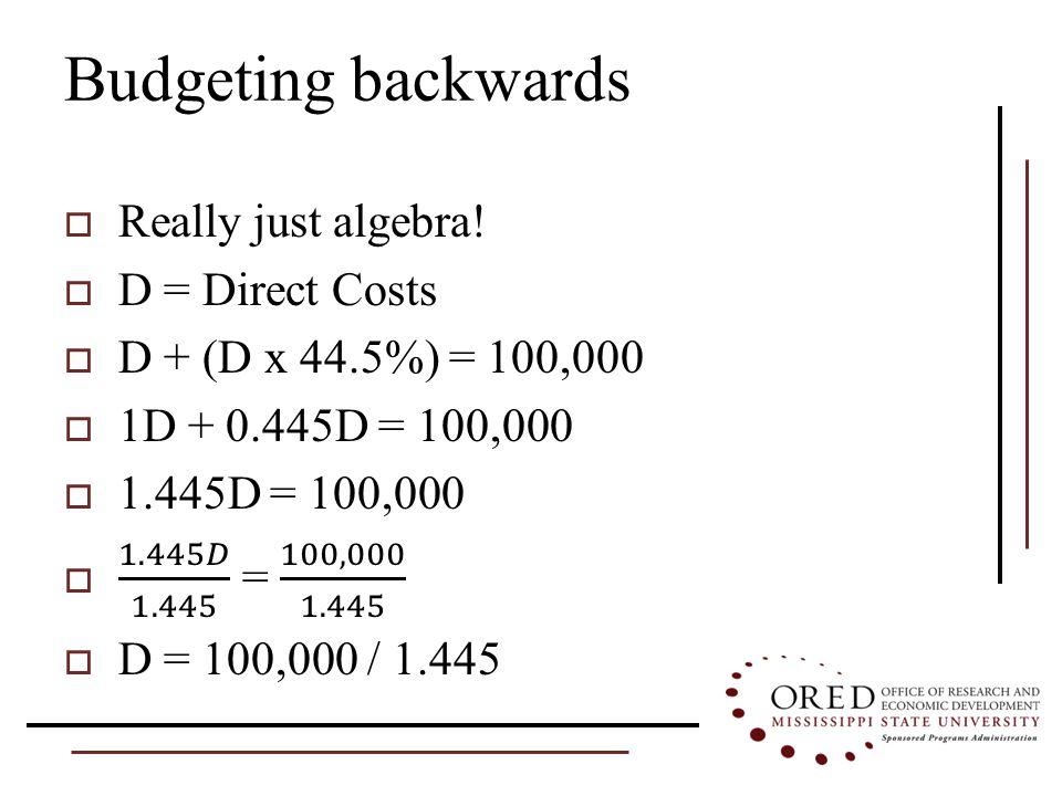 Budgeting backwards