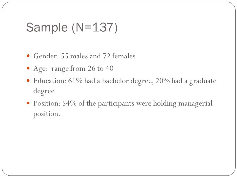 Sample (N=137) 25 Gender: 55 males and 72 females Age: range from 26 to 40 Education: 61% had a bachelor degree, 20% had a graduate degree Position: 5