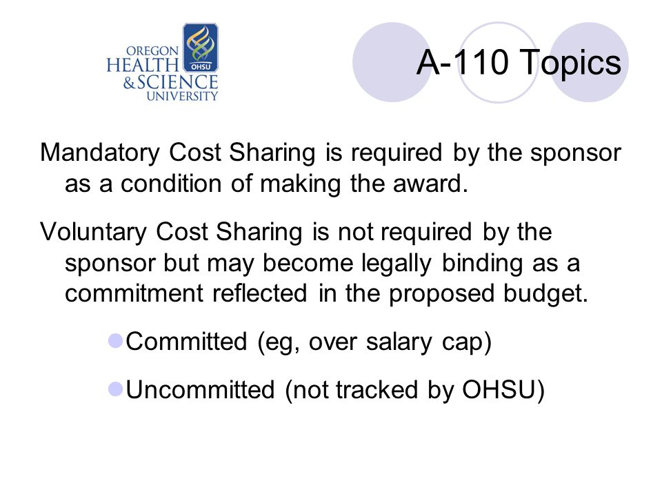 A-110 Topics Mandatory Cost Sharing is required by the sponsor as a condition of making the award. Voluntary Cost Sharing is not required by the spons