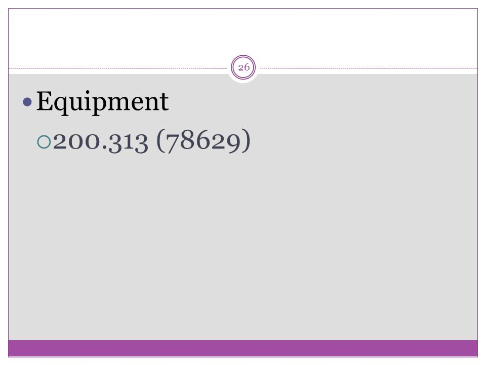 26 Equipment  200.313 (78629)