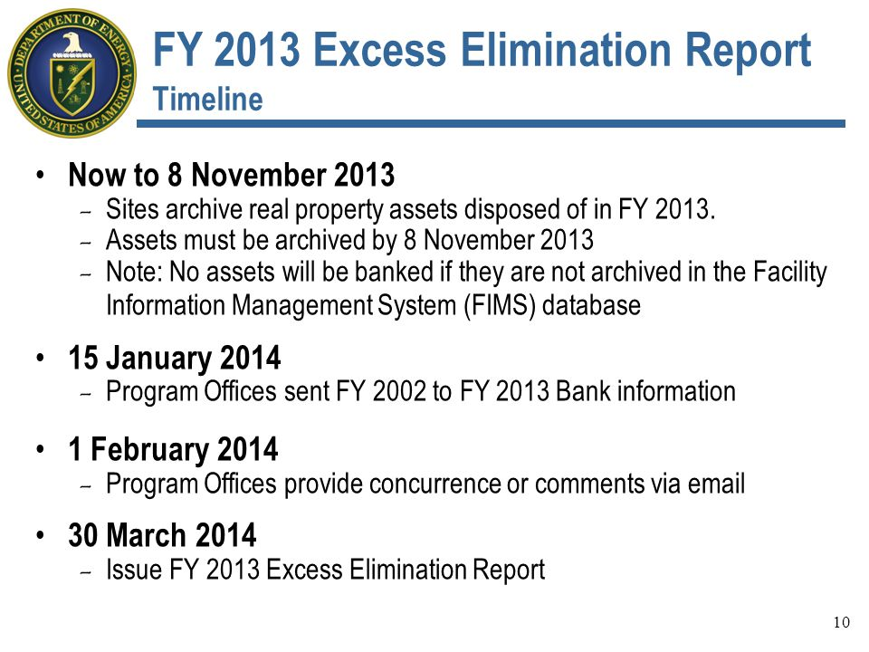 FY 2013 Excess Elimination Report Timeline Now to 8 November 2013 - Sites archive real property assets disposed of in FY 2013.
