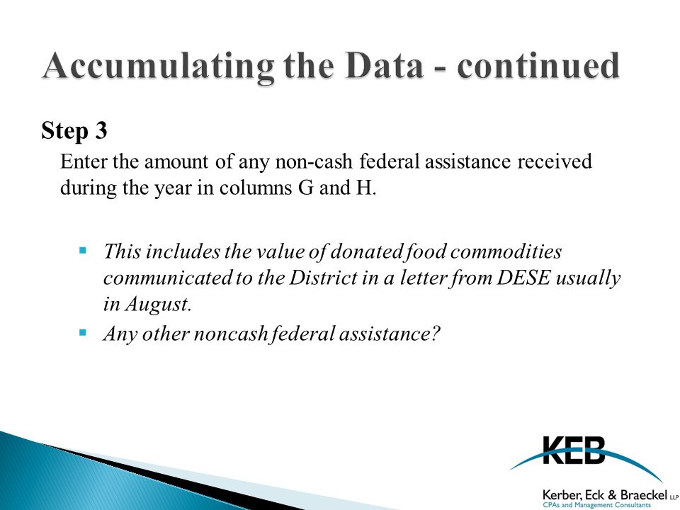 Step 3 Enter the amount of any non-cash federal assistance received during the year in columns G and H.