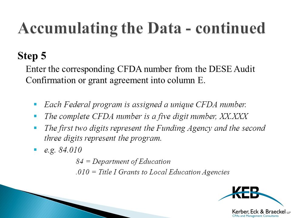 Step 5 Enter the corresponding CFDA number from the DESE Audit Confirmation or grant agreement into column E.