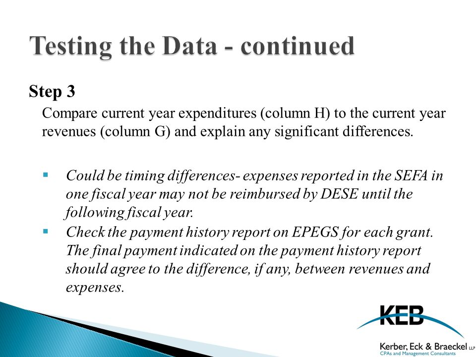 Step 3 Compare current year expenditures (column H) to the current year revenues (column G) and explain any significant differences.