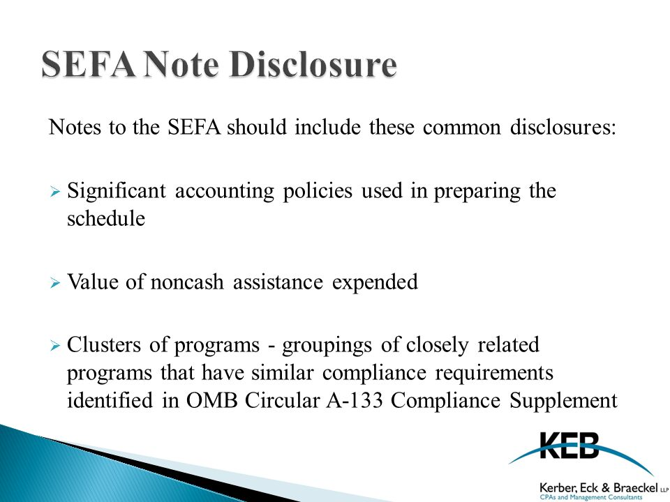 Notes to the SEFA should include these common disclosures:  Significant accounting policies used in preparing the schedule  Value of noncash assistance expended  Clusters of programs - groupings of closely related programs that have similar compliance requirements identified in OMB Circular A-133 Compliance Supplement