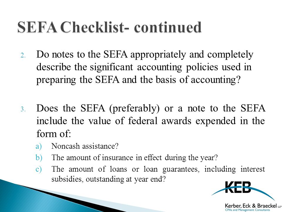 2. Do notes to the SEFA appropriately and completely describe the significant accounting policies used in preparing the SEFA and the basis of accounti