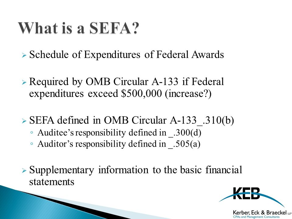  The SEFA serves as the basis for major program determination- accuracy and completeness of the SEFA is critical.