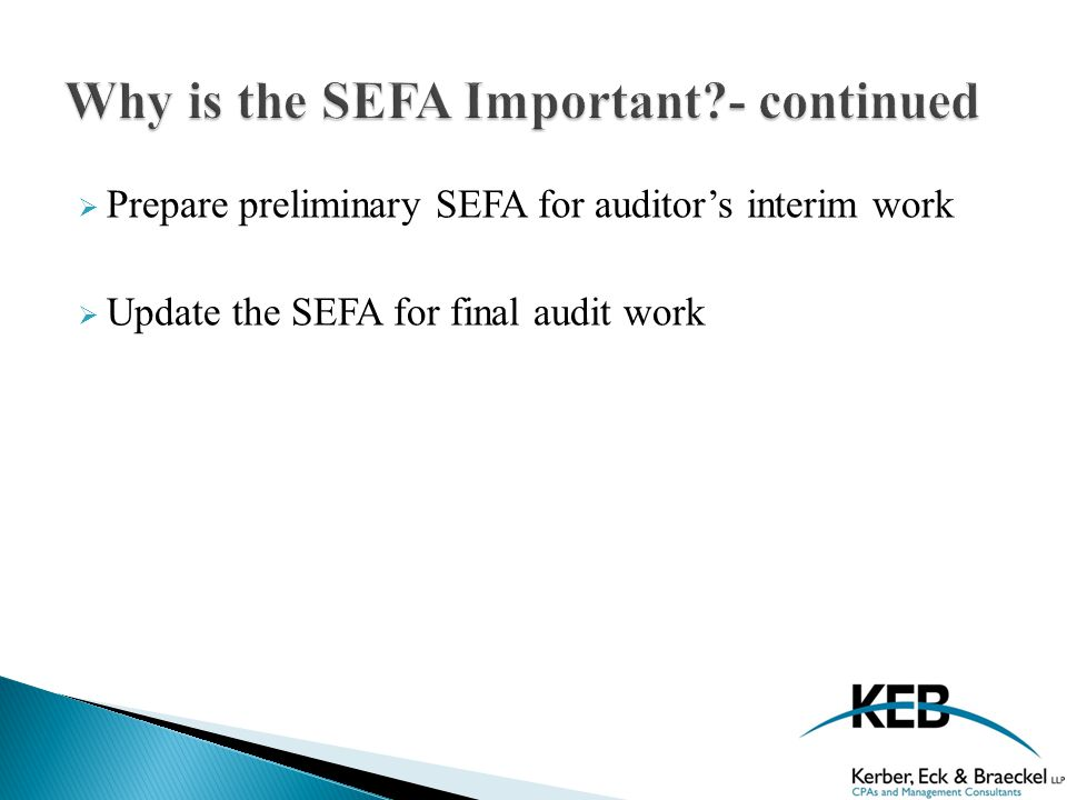  Prepare preliminary SEFA for auditor's interim work  Update the SEFA for final audit work