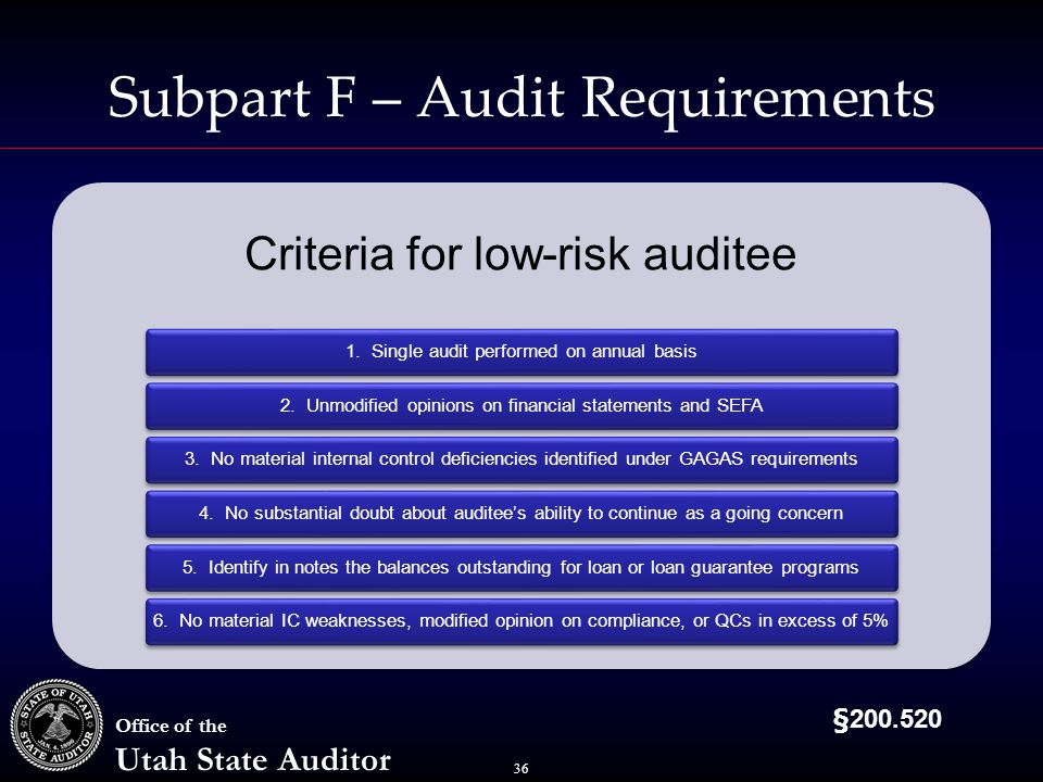 36 Office of the Utah State Auditor Subpart F – Audit Requirements Criteria for low-risk auditee 1.
