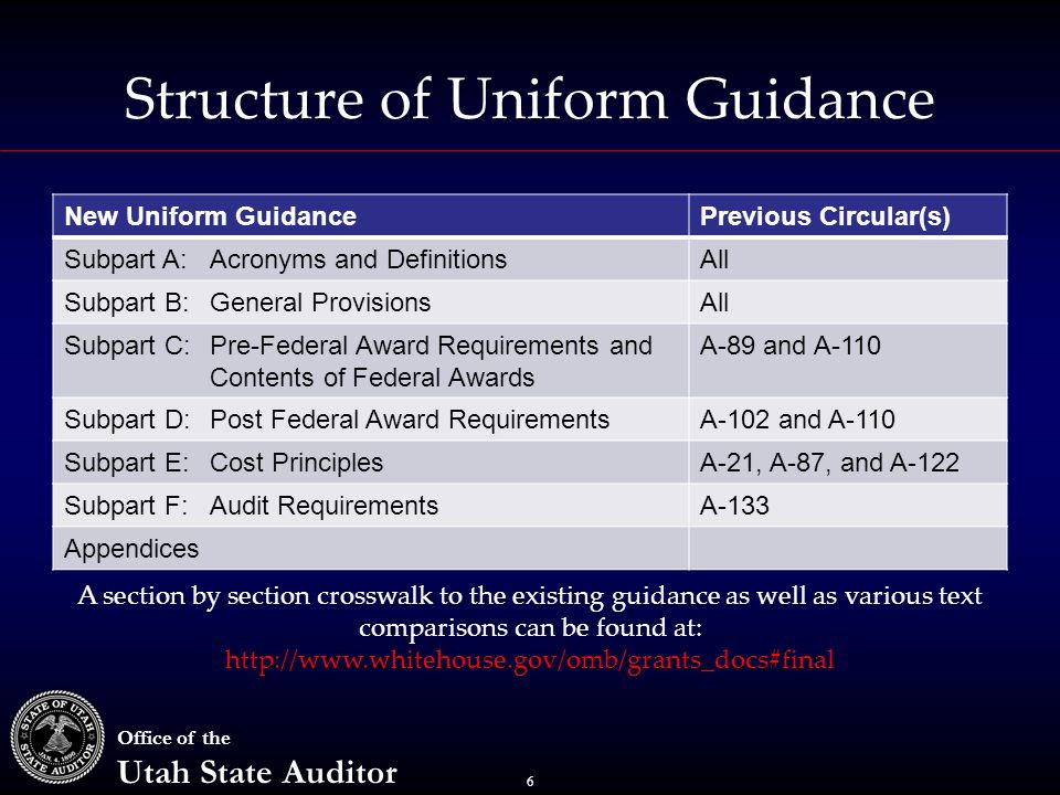 6 Office of the Utah State Auditor Structure of Uniform Guidance New Uniform GuidancePrevious Circular(s) Subpart A:Acronyms and DefinitionsAll Subpart B: General ProvisionsAll Subpart C:Pre-Federal Award Requirements and Contents of Federal Awards A-89 and A-110 Subpart D:Post Federal Award RequirementsA-102 and A-110 Subpart E:Cost PrinciplesA-21, A-87, and A-122 Subpart F:Audit RequirementsA-133 Appendices A section by section crosswalk to the existing guidance as well as various text comparisons can be found at: http://www.whitehouse.gov/omb/grants_docs#final