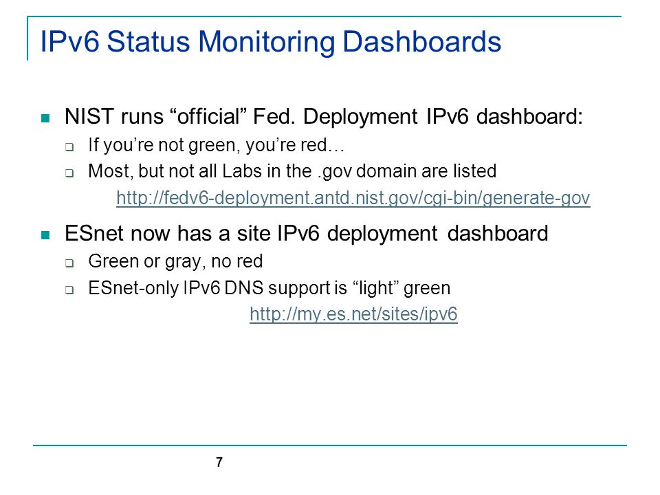 IPv6 Status Monitoring Dashboards NIST runs official Fed.