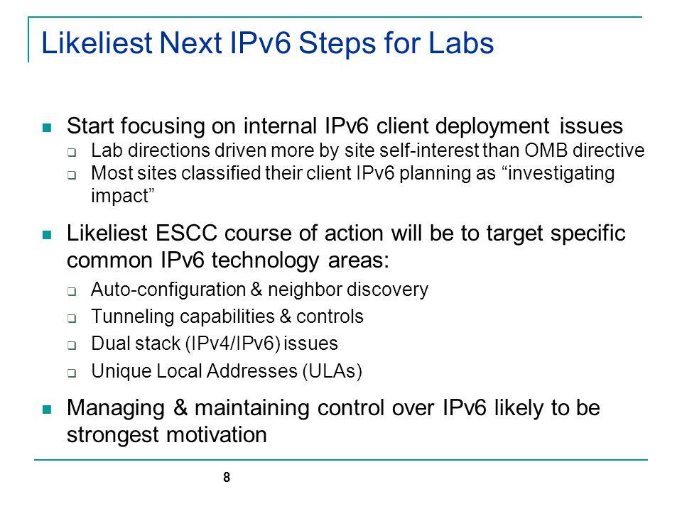 US Tier-1 IPv6 Deployment Status (FNAL & BNL) 9