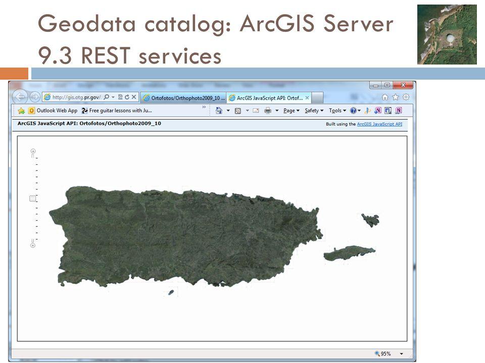 Geodata catalog: ArcGIS Server 9.3 REST services
