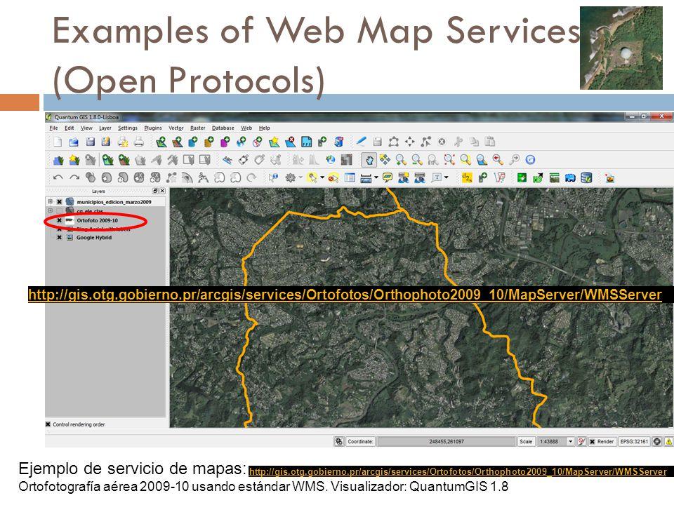Examples of Web Map Services: (Open Protocols) Ejemplo de servicio de mapas: Ortofotografía aérea 2009-10 usando estándar WMS.
