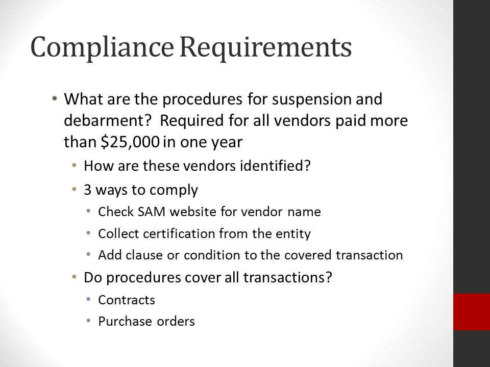 Compliance Requirements What are the procedures for suspension and debarment.