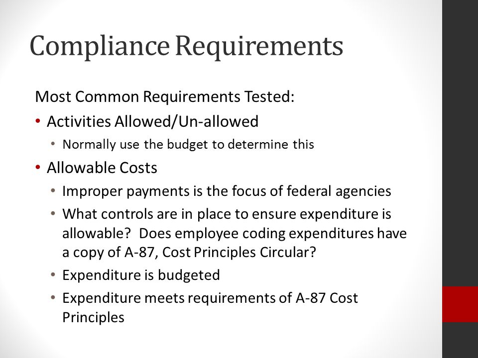 Compliance Requirements Special Test and Provisions Participation of private school children Documentation of timely consultation with private school officials Expenditure records of services provided Per pupil allocation of private school children School Wide Programs Check for 3 core elements Comprehensive needs assessment Comprehensive plan based on needs assessment Annual evaluation of results