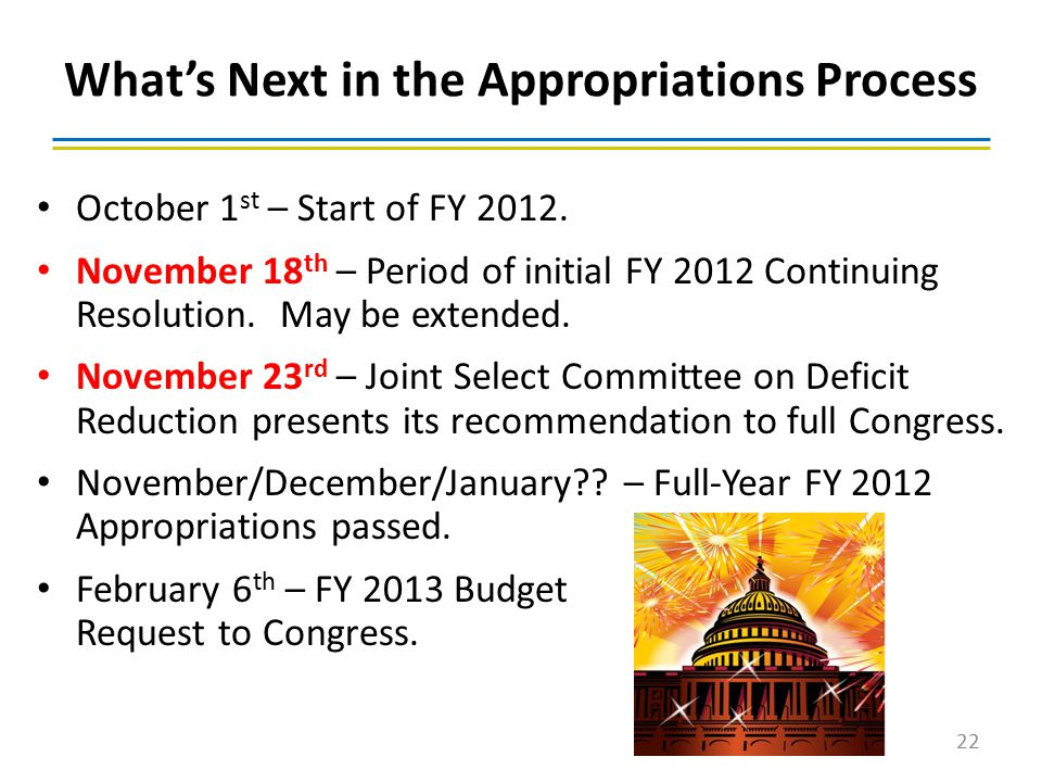 October 1 st – Start of FY 2012. November 18 th – Period of initial FY 2012 Continuing Resolution. May be extended. November 23 rd – Joint Select Comm
