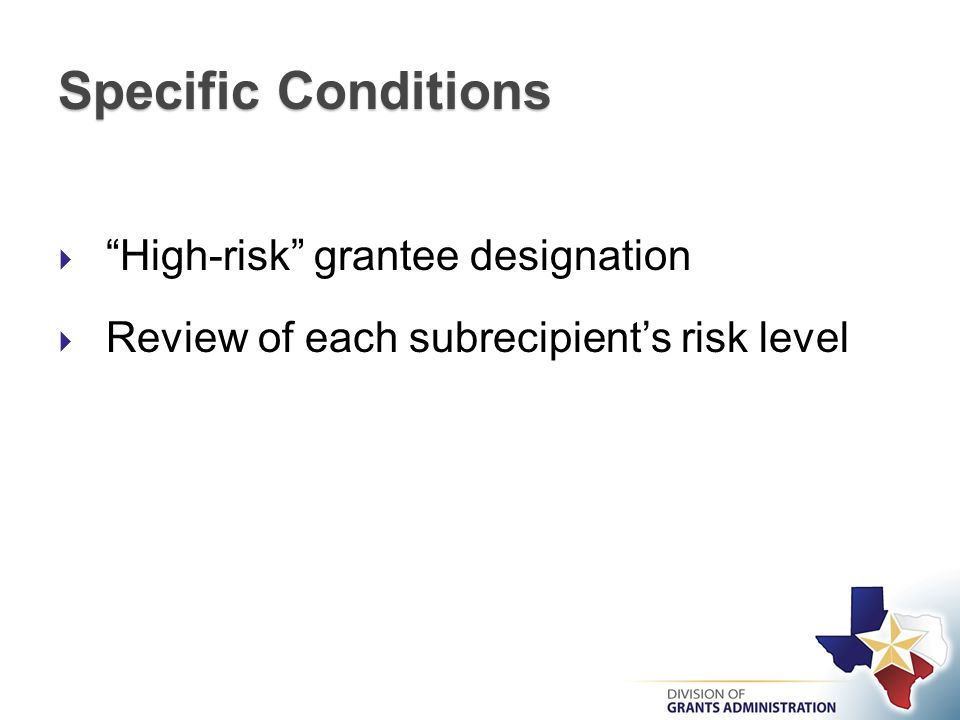 Specific Conditions  High-risk grantee designation  Review of each subrecipient's risk level