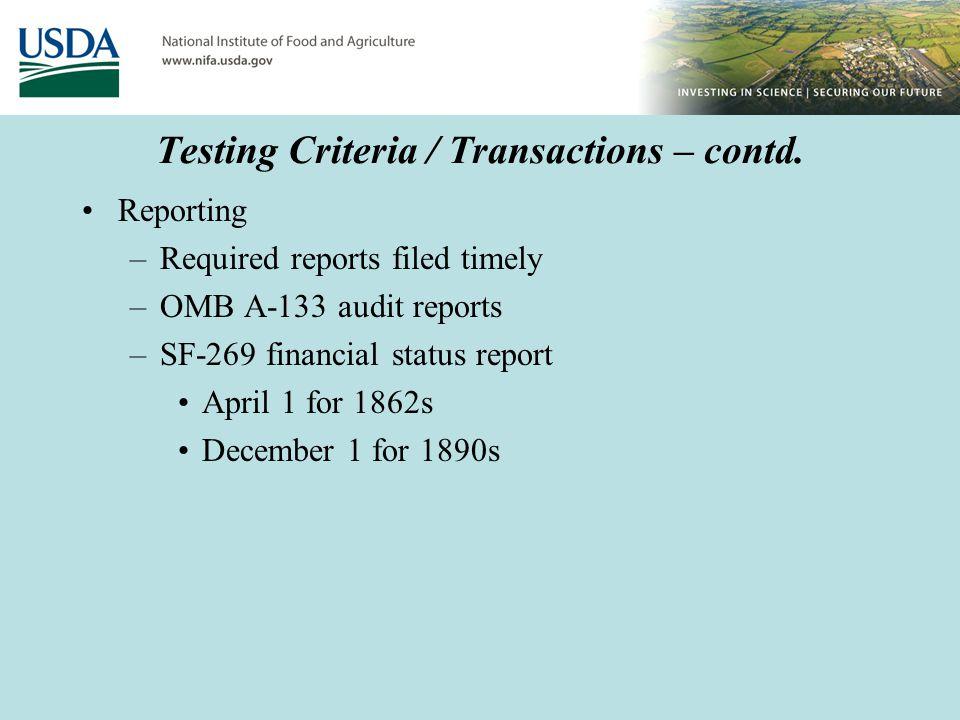 Testing Criteria / Transactions – contd.