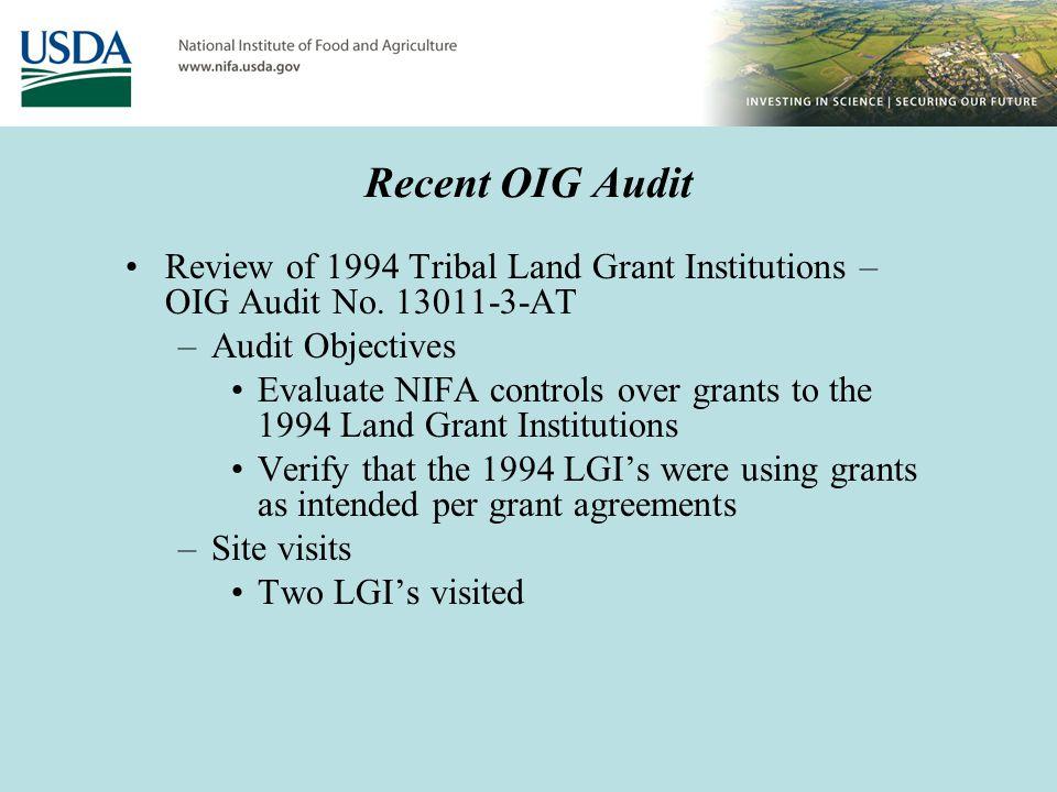 Sample Findings – OIG Audit No.