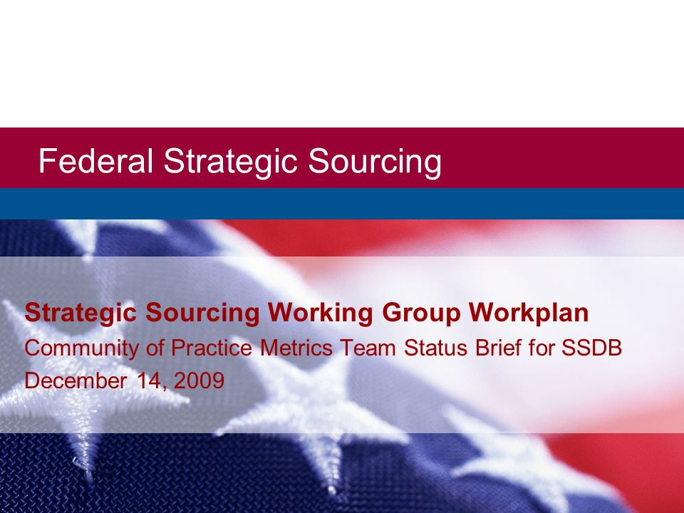 Federal Strategic Sourcing Strategic Sourcing Working Group Workplan Community of Practice Metrics Team Status Brief for SSDB December 14, 2009
