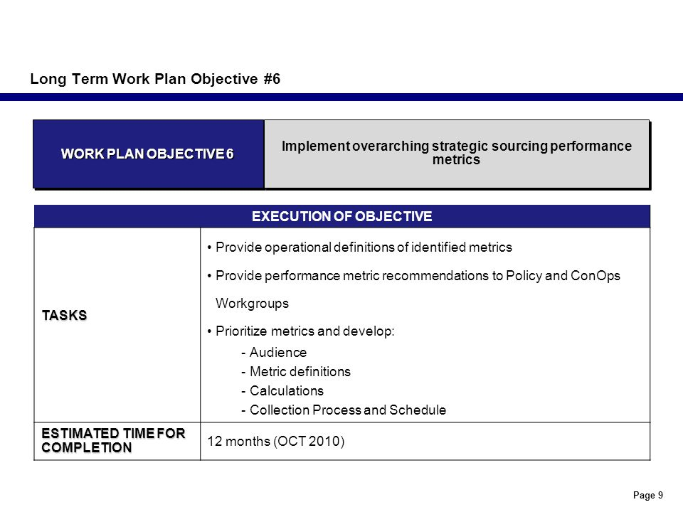 Page 9 Long Term Work Plan Objective #6 EXECUTION OF OBJECTIVETASKS Provide operational definitions of identified metrics Provide performance metric recommendations to Policy and ConOps Workgroups Prioritize metrics and develop: -Audience -Metric definitions -Calculations -Collection Process and Schedule ESTIMATED TIME FOR COMPLETION 12 months (OCT 2010) WORK PLAN OBJECTIVE 6 Implement overarching strategic sourcing performance metrics