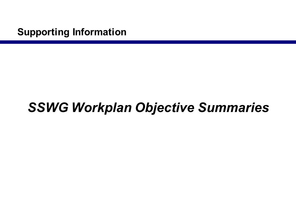SSWG Workplan Objective Summaries Supporting Information