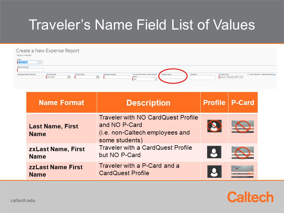 Traveler's Name Field List of Values Name Format Description ProfileP-Card Last Name, First Name Traveler with NO CardQuest Profile and NO P-Card (i.e.