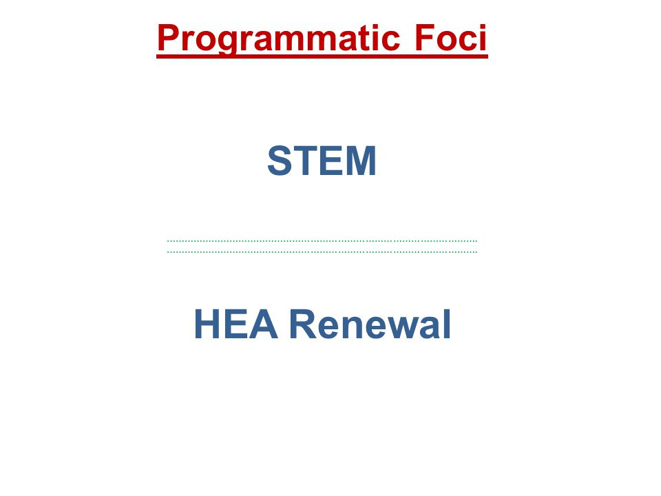 Programmatic Foci STEM …………………………………………………………………………………………. HEA Renewal