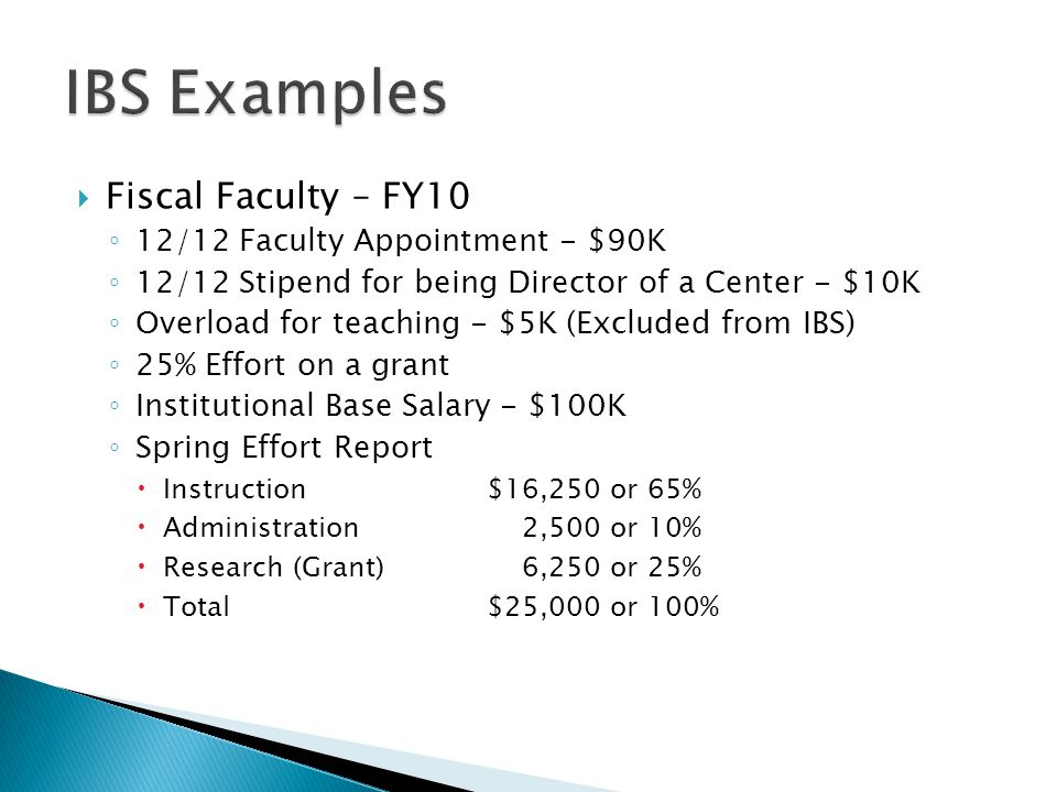  Fiscal Faculty – FY10 ◦ 12/12 Faculty Appointment - $90K ◦ 12/12 Stipend for being Director of a Center - $10K ◦ Overload for teaching - $5K (Excluded from IBS) ◦ 25% Effort on a grant ◦ Institutional Base Salary - $100K ◦ Spring Effort Report  Instruction $16,250 or 65%  Administration 2,500 or 10%  Research (Grant) 6,250 or 25%  Total$25,000 or 100%