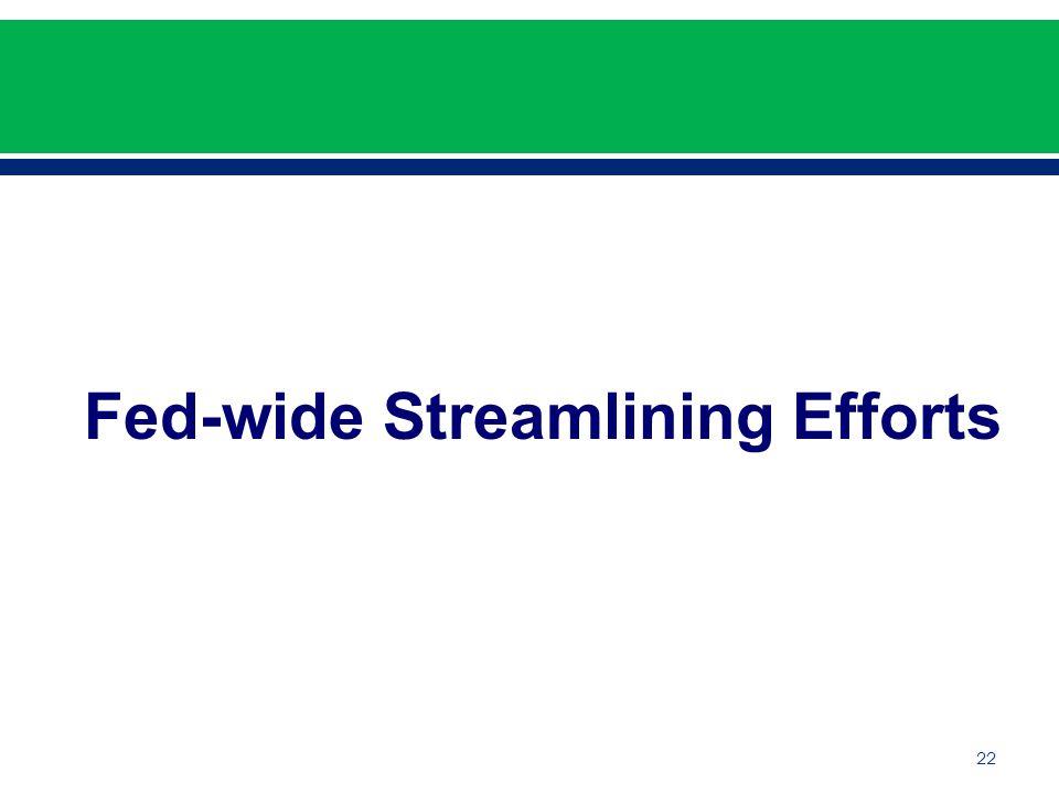 22 Fed-wide Streamlining Efforts