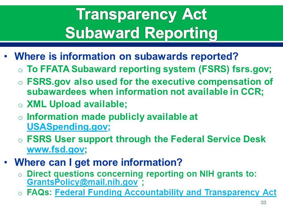 Where is information on subawards reported.
