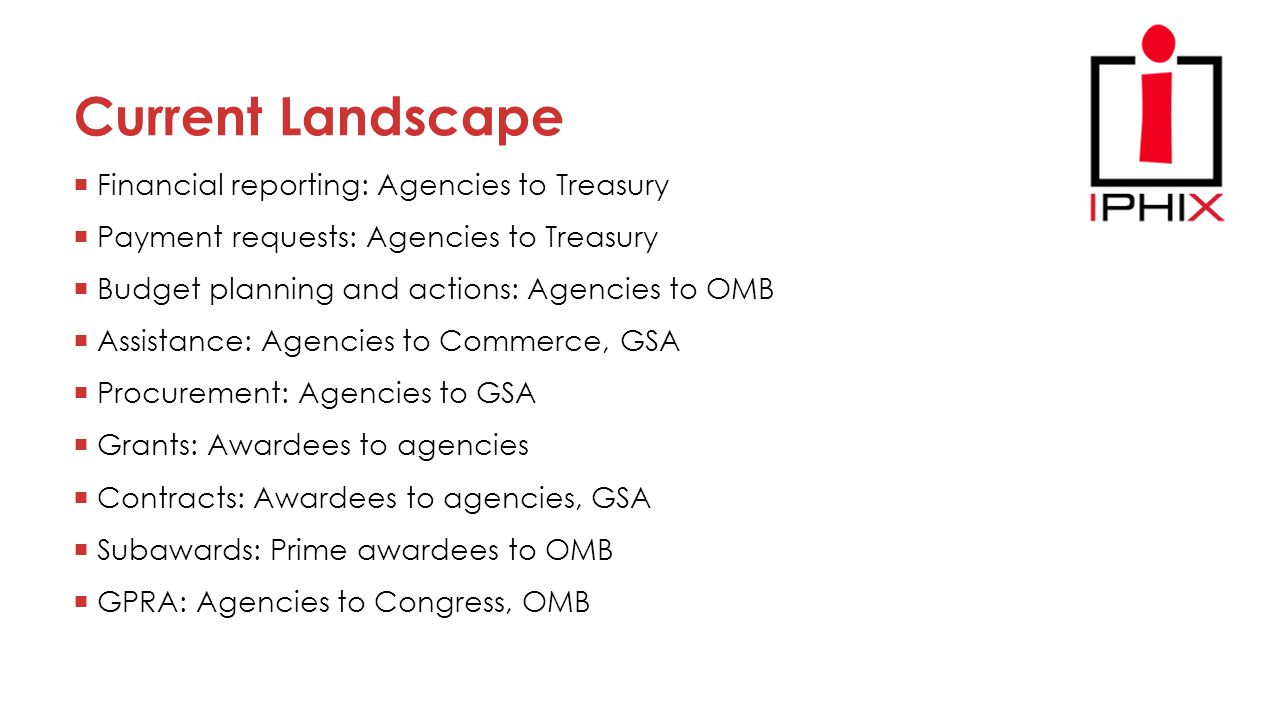 Current Landscape  Financial reporting: Agencies to Treasury  Payment requests: Agencies to Treasury  Budget planning and actions: Agencies to OMB  Assistance: Agencies to Commerce, GSA  Procurement: Agencies to GSA  Grants: Awardees to agencies  Contracts: Awardees to agencies, GSA  Subawards: Prime awardees to OMB  GPRA: Agencies to Congress, OMB