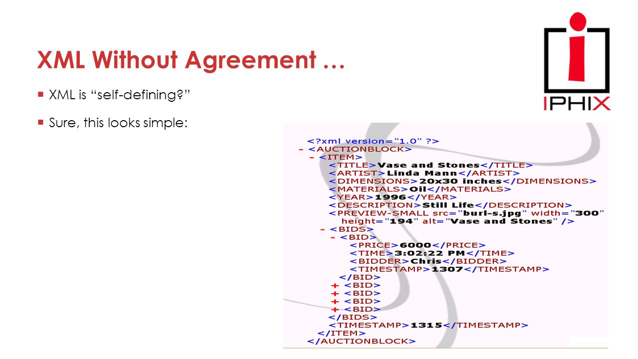 XML Without Agreement …  XML is self-defining?  Sure, this looks simple: