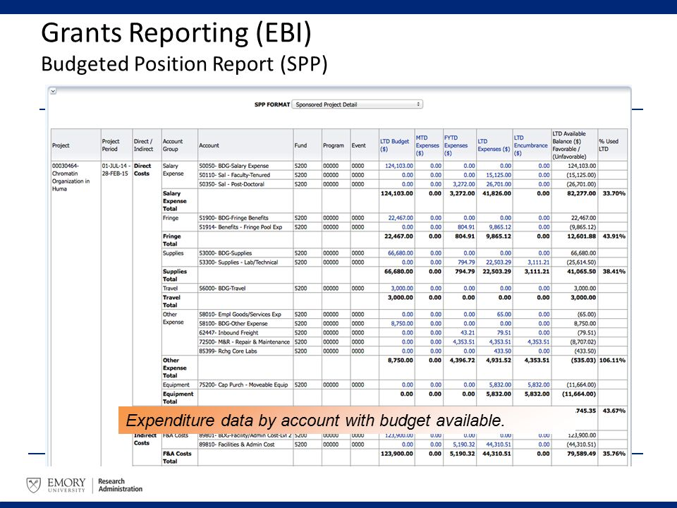 Grants Reporting (EBI) Budgeted Position Report (SPP) Expenditure data by account with budget available.