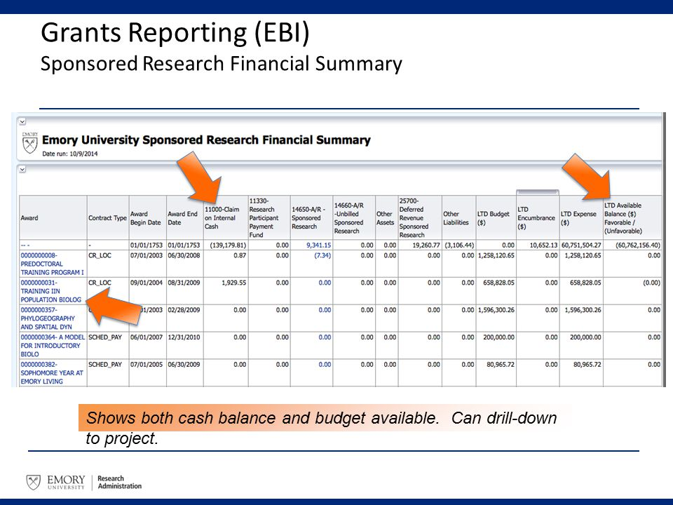 Grants Reporting (EBI) Sponsored Research Financial Summary Shows both cash balance and budget available. Can drill-down to project.