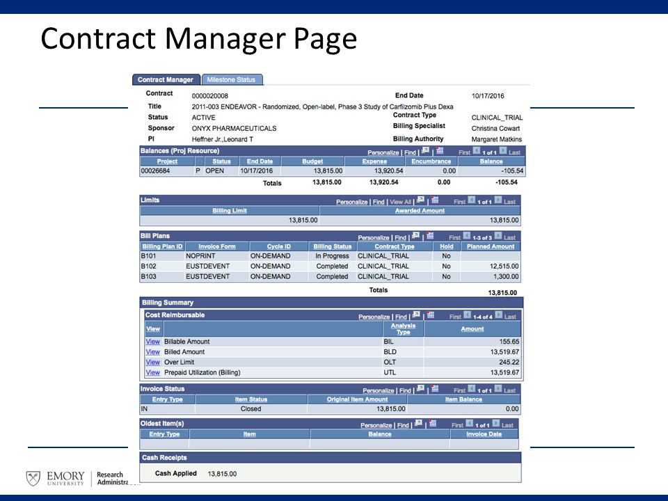 Contract Manager Page