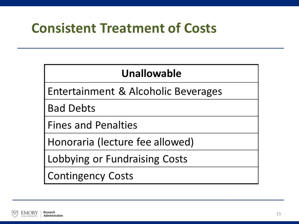 15 Consistent Treatment of Costs