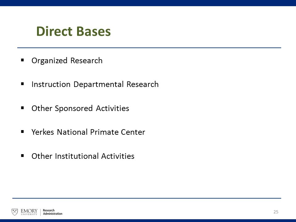 Direct Bases  Organized Research  Instruction Departmental Research  Other Sponsored Activities  Yerkes National Primate Center  Other Institutio