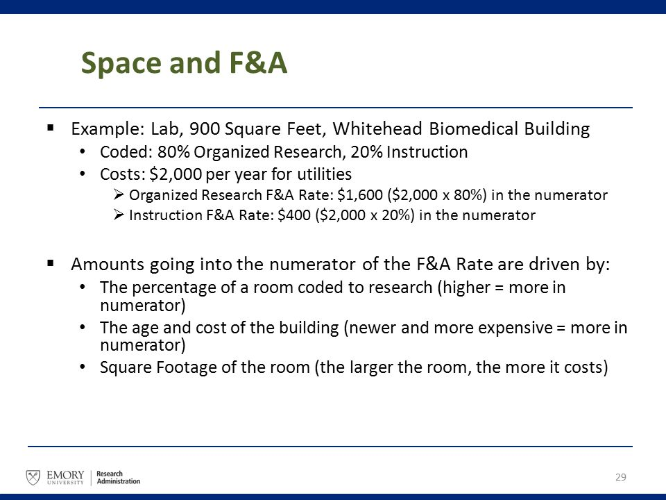 Space and F&A  Example: Lab, 900 Square Feet, Whitehead Biomedical Building Coded: 80% Organized Research, 20% Instruction Costs: $2,000 per year for