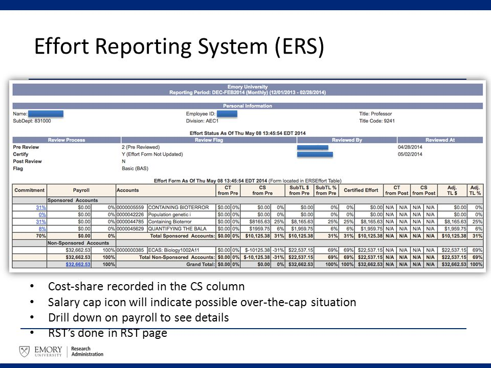 Effort Reporting System (ERS) Cost-share recorded in the CS column Salary cap icon will indicate possible over-the-cap situation Drill down on payroll