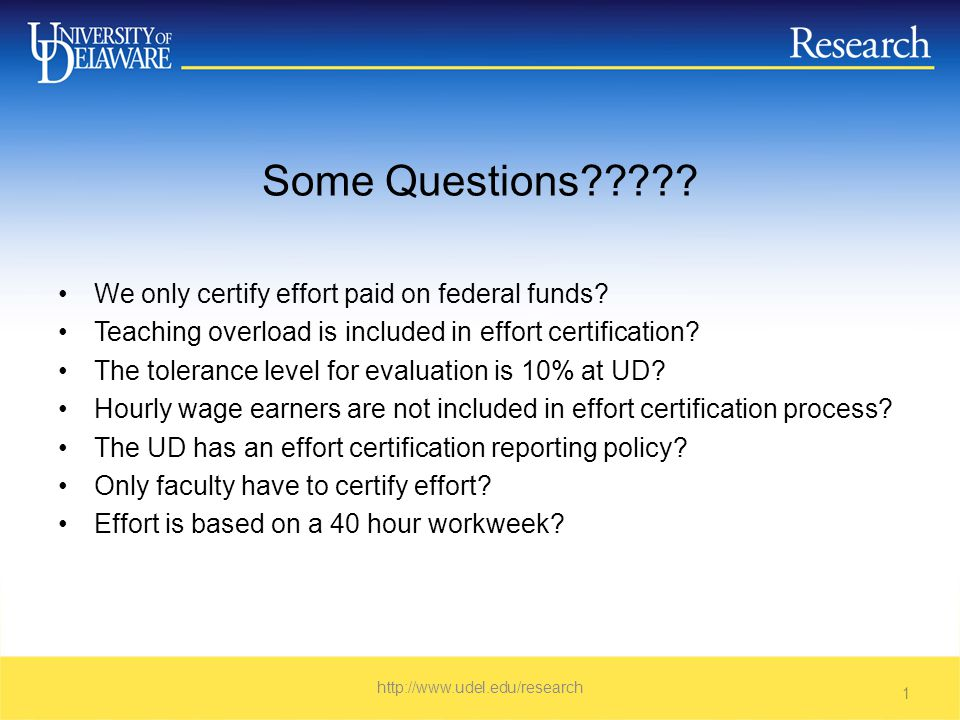 The purpose of effort reporting is to provide a reasonable basis for distributing salary charges among direct activities (e.g., sponsored projects and non sponsored activities such as instruction, administration, and service) http://www.udel.edu/research 2
