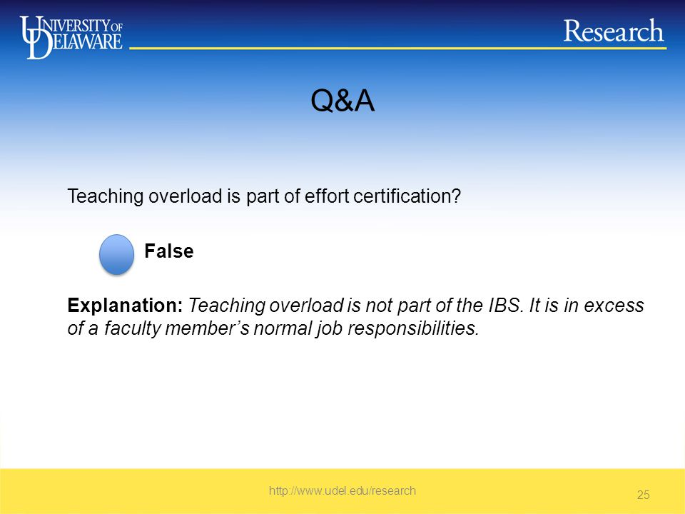 Q&A Teaching overload is part of effort certification.