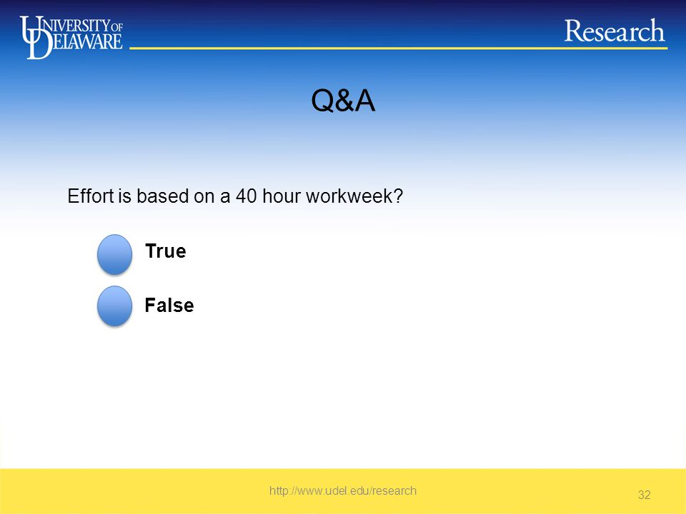 Q&A Effort is based on a 40 hour workweek True False   32