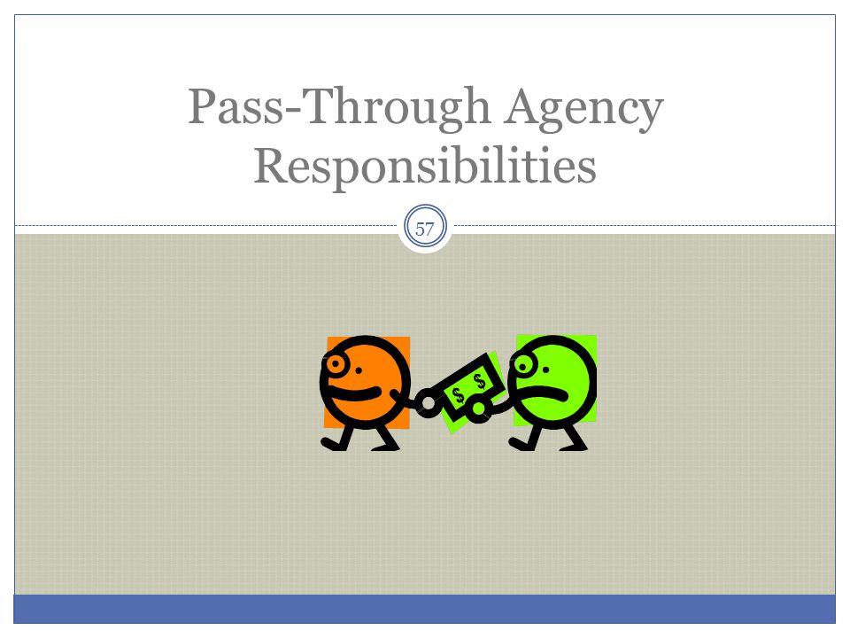 Pass-Through Agency Responsibilities 57