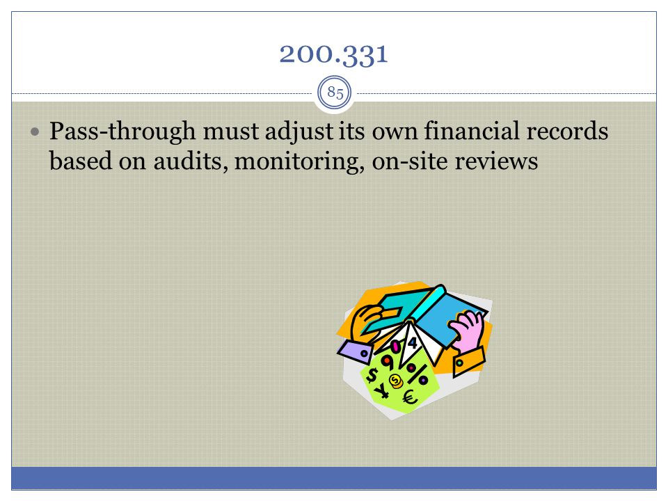 200.331 Pass-through must adjust its own financial records based on audits, monitoring, on-site reviews 85