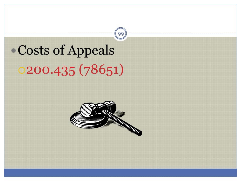 99 Costs of Appeals  200.435 (78651)