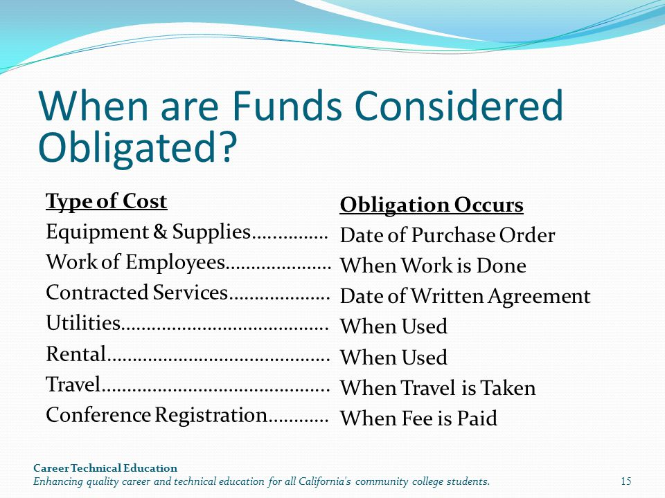 When are Funds Considered Obligated. Type of Cost Equipment & Supplies…..……….