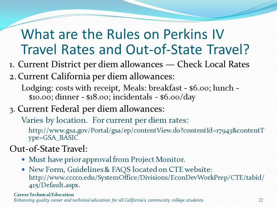 What are the Rules on Perkins IV Travel Rates and Out-of-State Travel.