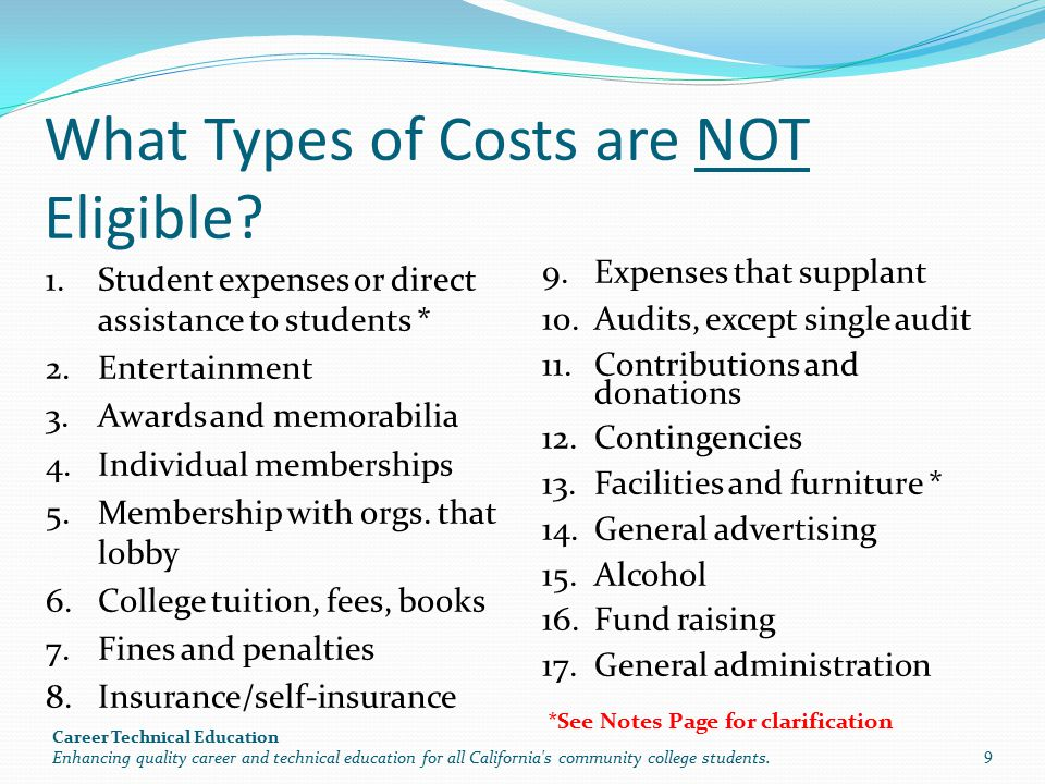 What Types of Costs are NOT Eligible.
